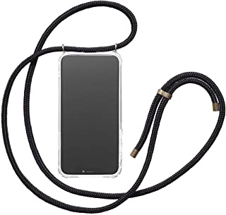 KNOK Handykette Kompatibel mit Apple iPhone 7/8 - Silikon Hülle mit Band - Handyhülle für Smartphone zum Umhängen - Transparent Case mit Schnur - Schutzhülle mit Kordel in Schwarz