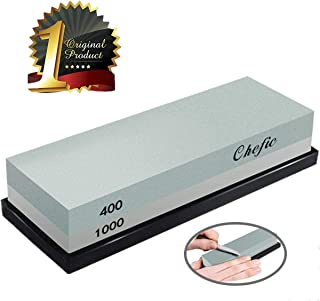 Chefic Whetstone 2-IN-1 Premium Sharpening Stone 400/1000 Grit Waterstones Kit - BearMoo Knife Sharpener Stone Safe Honing Holder Silicone Base Included, Polishing Tool for Kitchen/Pocket Knives/Blade