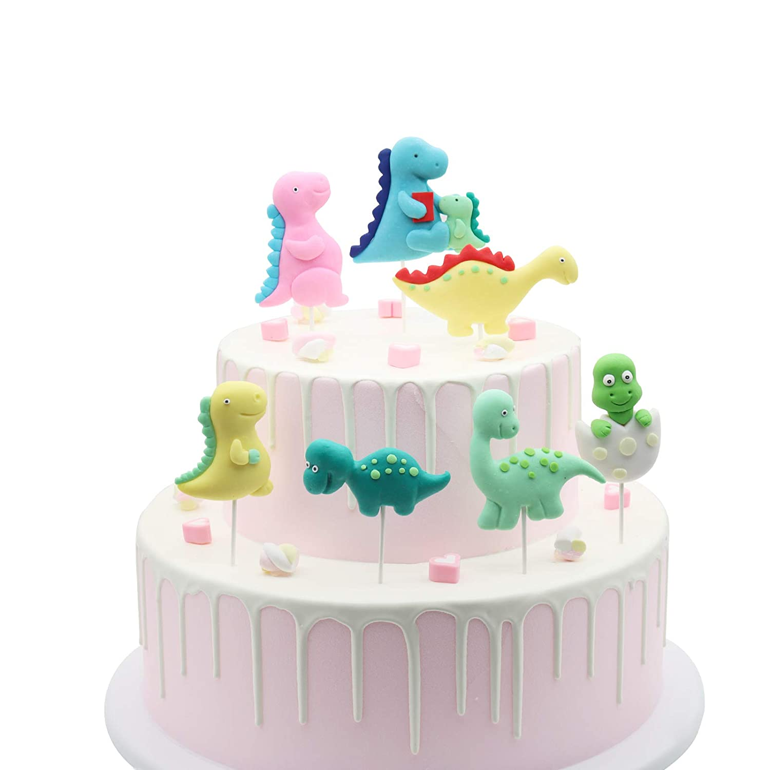 Birthday Cake Topper Dinosaur Cupcake Toppers 3D Dinosaur Cake Topper Dinosaur Theme Party Cartoon Animal Cupcake Toppers Cake Decorations Supplies,7 pcs