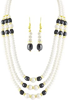 Trendy Souk Women's Majestic 3 Strings Real Fresh Water Hyderabadi Black & Pearls Aaa Quality Necklace Set