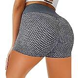 Keepwin Leggins Mujer Push Up Mallas de Deporte de Mujer Secado Rápido Pantalon de Entrenamiento para Running Gym Fitness Pantalones Cortos Yoga Mujer Cintura Alta (Gris, Large)