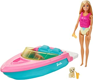 Barbie Doll and Boat Playset with Pet Puppy, Life Vest and Accessories, Fits 3 Dolls & Floats in Water, Gift for 3 to 7 Year Olds