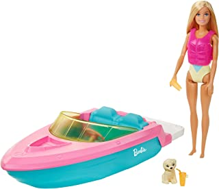Barbie Doll and Boat Playset with Pet Puppy, Life Vest and Accessories, Fits 3 Dolls & Floats in Water, Gift for 3 to 7 Ye...