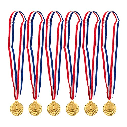 Juvale 6-Pack Gold Medal Set - Olympic Style Winner Award Medals for Sports, Competitions, Spelling Bees, Party Favors, 2 Inches in Diameter with 31-Inch Ribbon