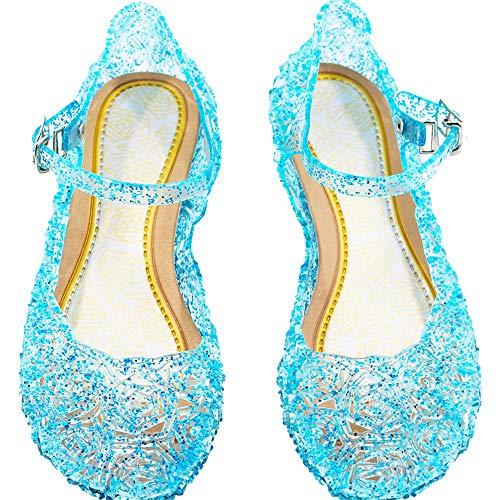 DJSJ- Niña Bailarina Zapatos de Tacón Disfraz de Princesa Zapatilla de Ballet para 3 a 12 Años Azul EU25-35
