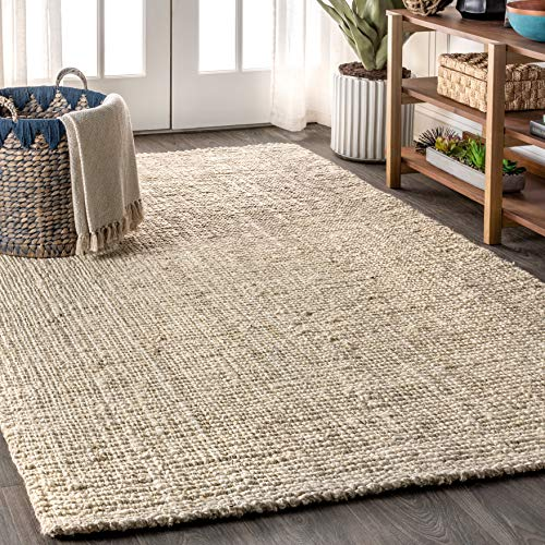 JONATHAN Y Pata Hand Woven Chunky Jute Light Ivory 8 ft. x 10 ft. Area-Rug, Bohemian, Easy-Cleaning, For Bedroom, Kitchen, Living Room, Non Shedding