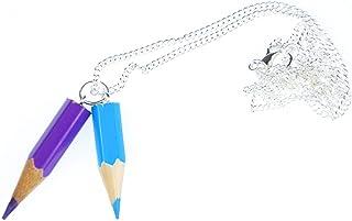 Miniblings Buntstift Kette Halskette Einschulung Malen Stifte Schule Upcycling 60cm - Handmade Modeschmuck - Gliederkette versilbert