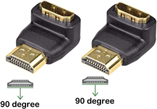 VCE 2-Pack 3D&4K Supported HDMI 90 Degree Male to Female Right Angle Adapter