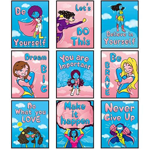 9 Pósters de Decoración de Pared de Habitación de Niñas Cartel de Pared de Chica Inspiradora Pósters de Láminas Artísticas de Girl Power para Dormitorio Infantil Adolescentes (sin Marco)