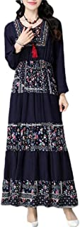 Women's Floral Folk Style Cotton Linen Crew-Neck Splice Long Dress