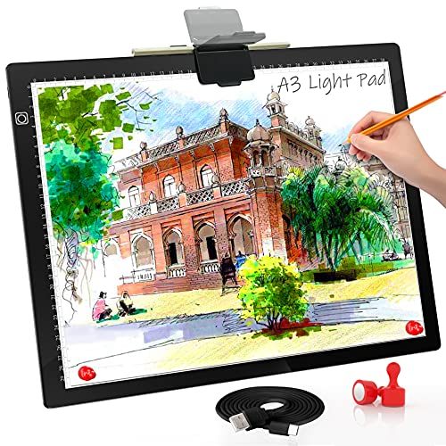A3 Light Board, Light Pad for Diamond Painting, Comzler 6 Levels&Stepless Dimmable Light Box for Tracing, Ultra-Thin LED Copy Board with Type-C Cable for Weeding Vinyl,Sketching, Animation