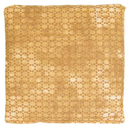 Cojín de semillas 12x12cm. Batik oro. Saco térmico con pepitas de uva. Pequeña almohada térmica utilizable frío o caliente.