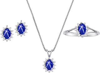 RYLOS Birthstone Jewelry - Ring, Earrings & Pendant Necklace Matching Set with Gemstone & Genuine Diamonds in Sterling Sil...