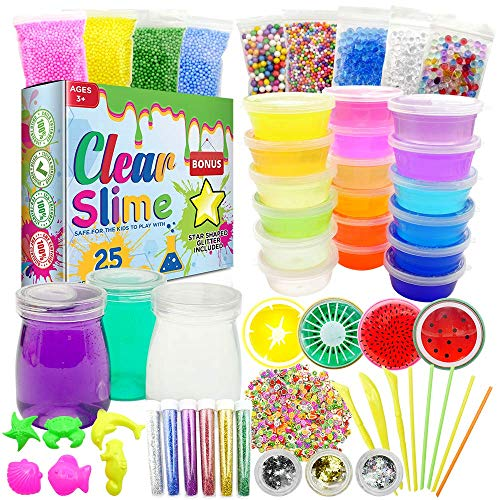 Clear Slime 58Pc Crystal Slime Kit for DIY Crystal Slime Set | 25 Colors Slime, 6 Pack Foam Beads, 4 Scented Fruit & 3 Jars | Complete Supplies & Glitter Accessories for Boys & Girls