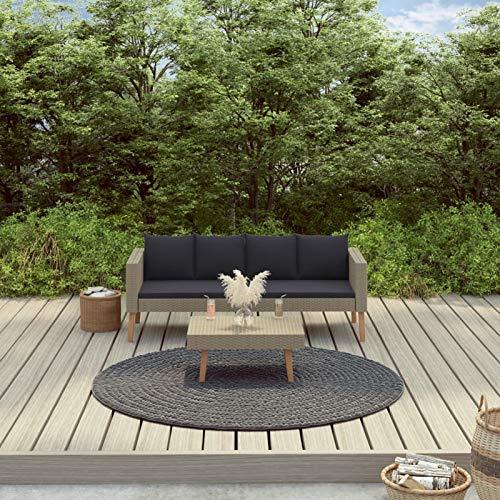 Festnight Muebles Jardin, Conjunto Mesa y Sillas Jardin, Sofa Exterior, Conjunto Terraza, Set de Muebles de jardín 2 pzas y Cojines ratán sintético Beige