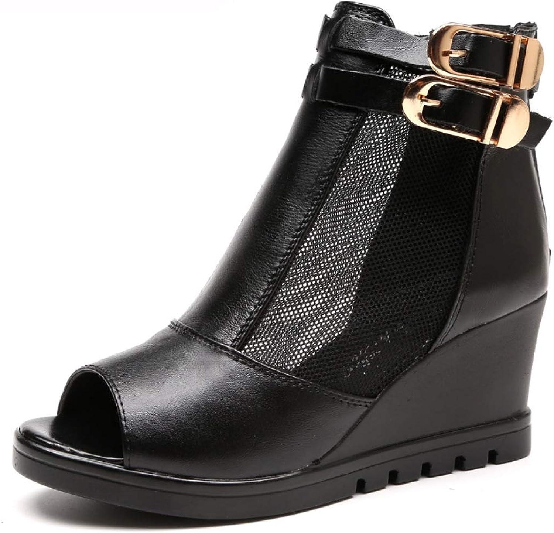 T-JULY Women Ankle Wedge Sandals Casual Mesh Peep Toe Gauze shoes Lady Platform High Heel Genuine Leather Black Footwear for Summer