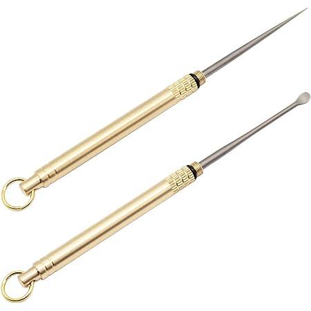 2X Outdoor Titanium Toothpick Reusable Metal Fruit Pick Keychain Survival Tool