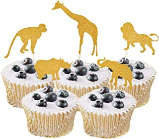 HOKPA Glitter Cupcake Cake Muffin Toppers Wild Animals Zoo Lion Elephant Giraffe Monkey Rhinoceros Baby Shower Food Picks Boys' Birthday Party Favors (20PCS Golden)