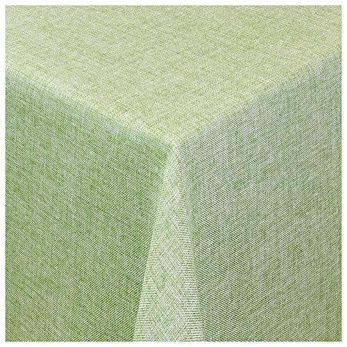 MODERNO Tischdecke Damast Maßanfertigung im Leinen-Design in Lind-Grün eckig 120x160 cm, weitere Farben und Größen wählbar