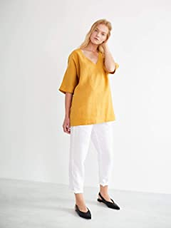 3587b3c07 FLORENCE Linen Tunic in Mustard - Oversized V-Neck Blouse - Relaxed Loose  Fit Kaftan