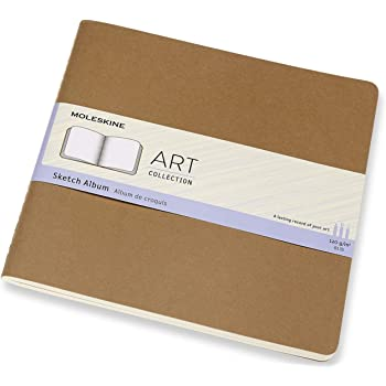 "Moleskine Art Cahier Sketch Album, Hard Cover, Square (7.5"" x 7.5"") Plain/Blank, Kraft Brown, 88 Pages"