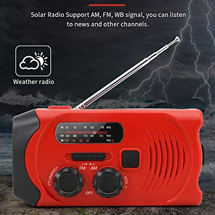 Alomejor Self-powered Flashlight Portable AM//FM Radio with Built-in LED Torch and USB Charging Cable for Walking Hiking Camping