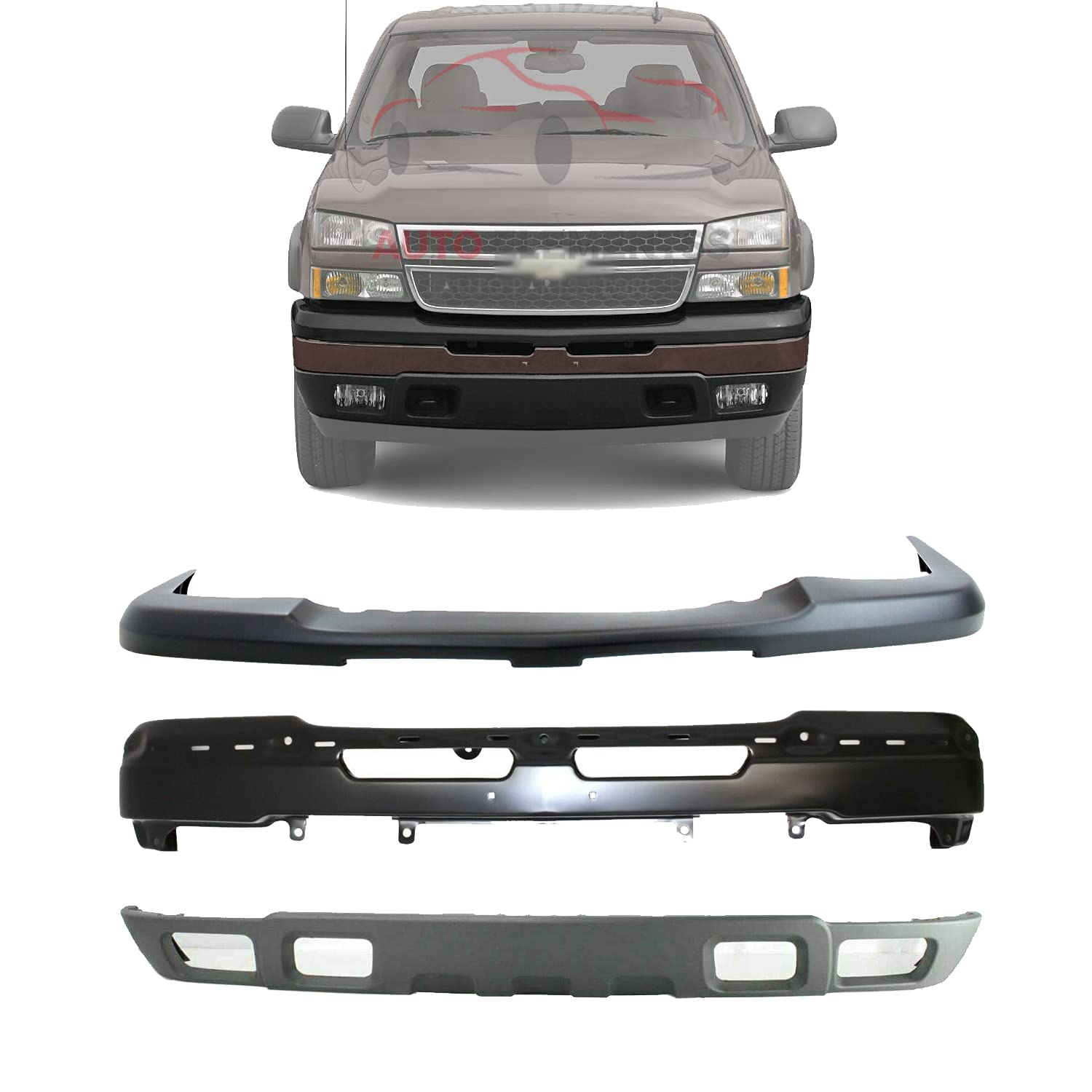 New Front Bumper Paint To Match Steel Upper Cover Lower Valance Textured For 2003 2006 Chevrolet Silverado 1500 2002 2006 Avalanche Direct Replacement 15139805 89025748 10397999 Buy Online In India At Desertcart 197618426