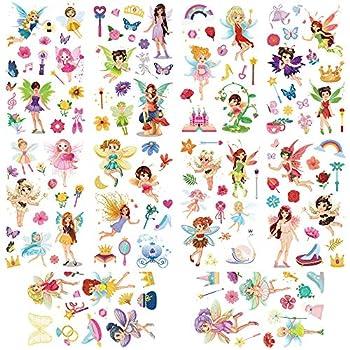 Yarlilyan 100+ Fairy Glitter Tattoos for Girls Children Birthday Party Favor Temporary Tattoo Sticker Magic Fantasy Butterfly Flower Pink Fake Waterproof tattoo on kids Body Hand Arm Face 10 Sheets