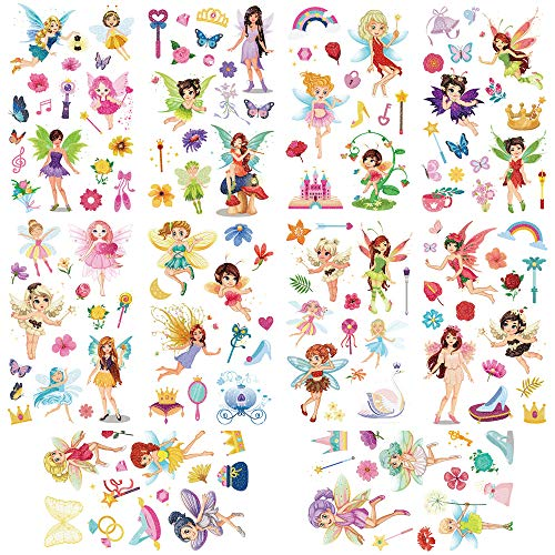 Yarlilyan 100+ Fairy Glitter Tattoos for Girls, Children Birthday Party Favor Temporary Tattoo Sticker, Magic Fantasy Butterfly Flower Pink Fake Waterproof tattoo on kids Body Hand Arm Face 10 Sheets