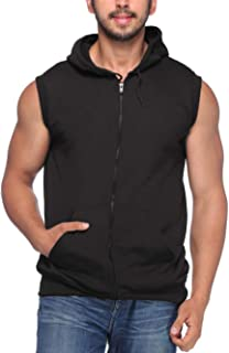 Demokrazy Men's Fleece Sleeveless Hoodie (Black)