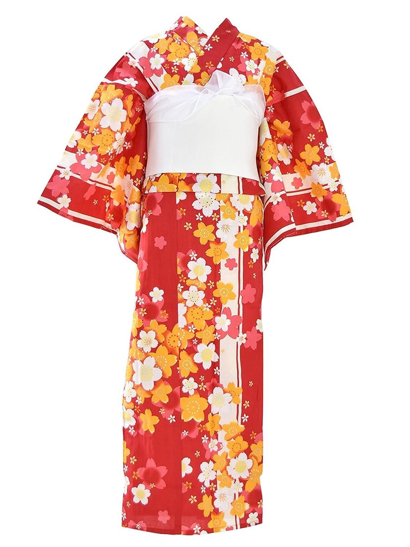 浴衣 セット [ここち] 女の子浴衣 3点セット 夏祭り 夕涼み 花火 140cm 150cm キッズ