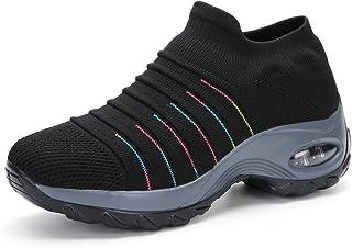 Zapatillas de Deporte para Mujer Calzado de Gimnasia Calzado Ligero para Correr Calcetines cómodos y Transpirables Calzado sin Cordones Senderismo al Aire Libre Calzado con cuña