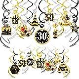 HOWAF Decoraciones de Fiesta 30 Cumpleaños,Remolinos Colgantes Techo de Oro Negro,Lámina Brillante Remolinos Colgantes para Fiestas de 30 Años Feliz Cumpleaños Decoracion para Hombres y Mujers,30 Pcs