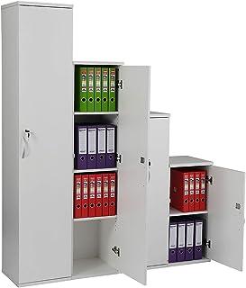 Certeo Placard fin de bureau en bois - 3 tablettes - Hauteur 1592 mm - Blanc - Karbon - Armoire de rangement Armoire de cl...