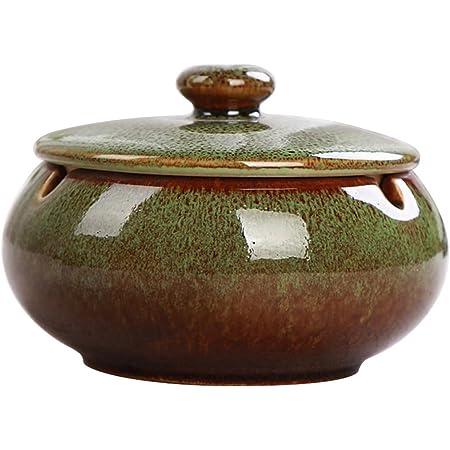 Yellow Hoobar Ceramic Ashtray with Lid Round Cigar Ashtray with ...