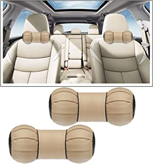 Vheelocityin Dumbell Round Beige Car Neck Cushion Pillow for Maruti Suzuki Ertiga