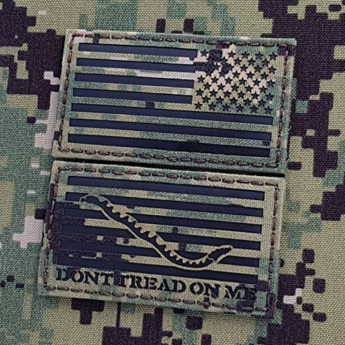 IR Bundle Set of 2 Patches 2-1/8x4 inch USA Reversed Flag and First Navy Jack DTOM Dont Tread On Me NWU Type III AOR2 Tactical Touch Fastener