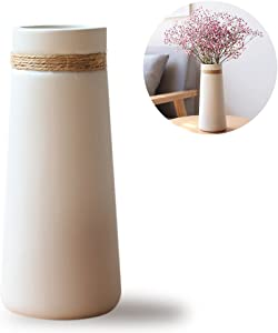 HaloVa Ceramic Vases, Modern Elegant Decorative Flower Vase for Home Decor Living Room and Office, Taper White