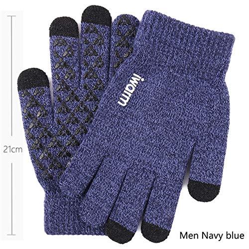 Neue Touchscreen-Strickhandschuhe Winter Herbst Männer Frauen verdicken Wollhandschuh im Freien Anti-Rutsch-Wärmer Paar Handschuhe Hochwertig - Männer Marineblau