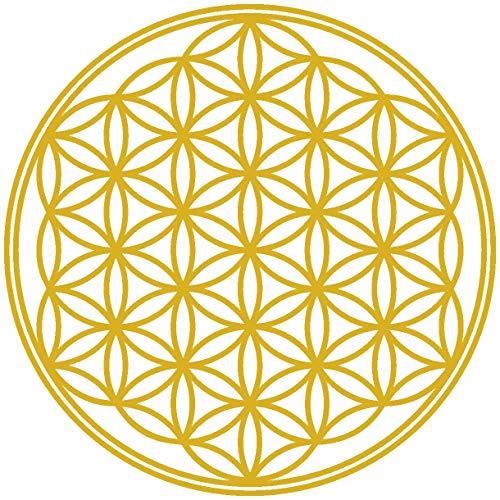 Samunshi® Lebensblume Wandtattoo Blume des Lebens Aufkleber Wandbild Blumen Wandsticker Yoga Sticker Wanddeko in 8 Größen und 25 Farben (50x50cm Gold)