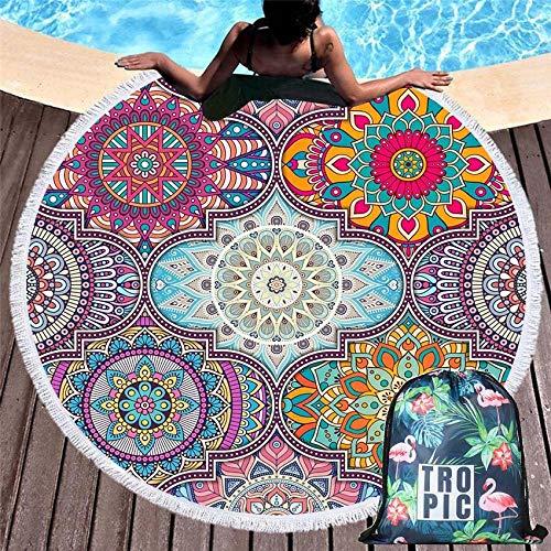 Ronde Beach Handdoeken Geometrische Mandala Cirkel Badhanddoek Met Trekkoord Opbergtas Yoga Mat Dekbedovertrek En Tas 10