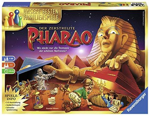 Ravensburger 26656 - Der zerstreute Pharao - Gesellschaftsspiel für die ganze Familie, Spiel für Erwachsene und Kinder ab 7 Jahren, für 1-5 Spieler - Schätze suchen