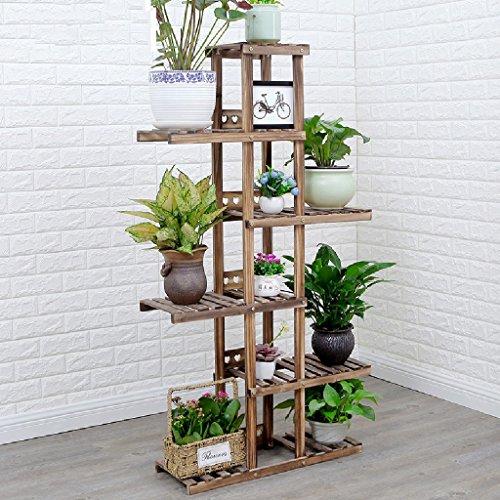 Sol en bois massif - Style Pots de fleurs Balcon Étagères de salon Râper vert Bonsai Etagères en intérieur pour plantes L * W * H: 76 * 25 * 142CM (Couleur : Charcoal)