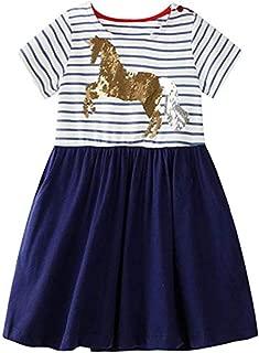 Toddler Girls Animal Stripe Cotton Dress Short & Long Sleeves Casual Summer Basic Active Shirt Dresses