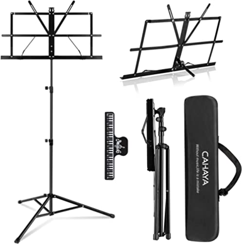 CAHAYA 2 in 1 Dual Use Folding Sheet Music Stand & Desktop Book Stand Lightweight Portable Adjustable with Carrying B...
