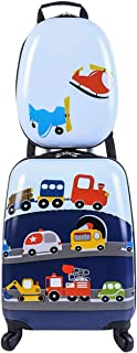 Car Kids Carry On Luggage Set with Spinner Wheels Toddler Travel Suitcase with Backpack for Boys