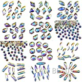 AD Beads 300 Pieces Flat Back Gems 11 shapes Crystal Rhinestones 12 Sizes Rhinestones for Crafts Nail Face Art Clothes Shoes Bags DIY( Clear AB)