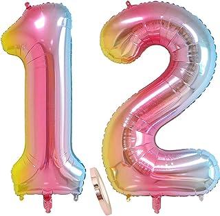 """globos numeros 12 años, globo número 12 arcoíris para niña niño infantil, 40"""" Figuras helio globo inflable gigante,grande iridiscentes colores rosados rosa decoración fiesta de cumpleaños (xxxl 100cm)"""