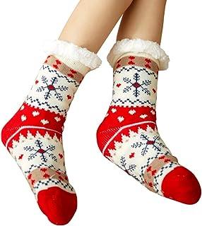 nuluxi, Suave Mujer Calcetines de Lana Cómodo Gruesa de Invierno Calcetines Calentar Navidad Calcetines Invierno Calcetines de Casa Antideslizantes Calcetines Térmicos de Piso para Mujeres