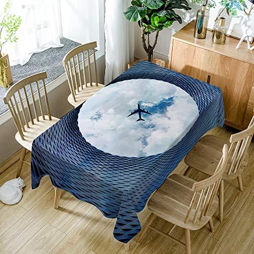 BWBJJ Antimanchas Mantel para Mesa Rectangular, aeronave Impermeable Lavable Poliéster impresión 3D Mantel - Adecuado para Decorar Cocina Comedor Salón 140x140 cm